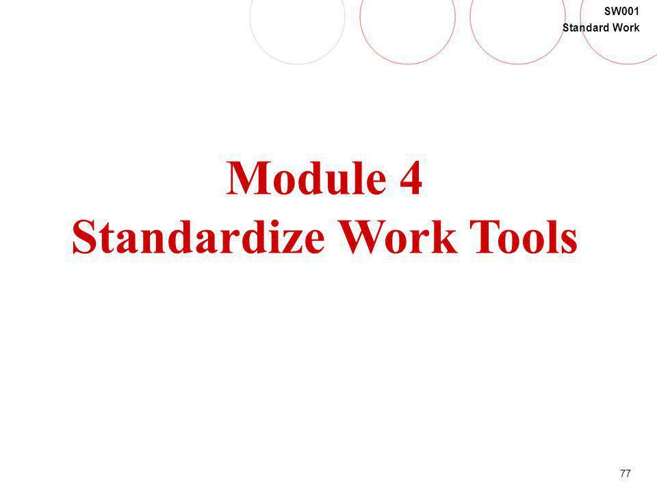 77 SW001 Standard Work Module 4 Standardize Work Tools