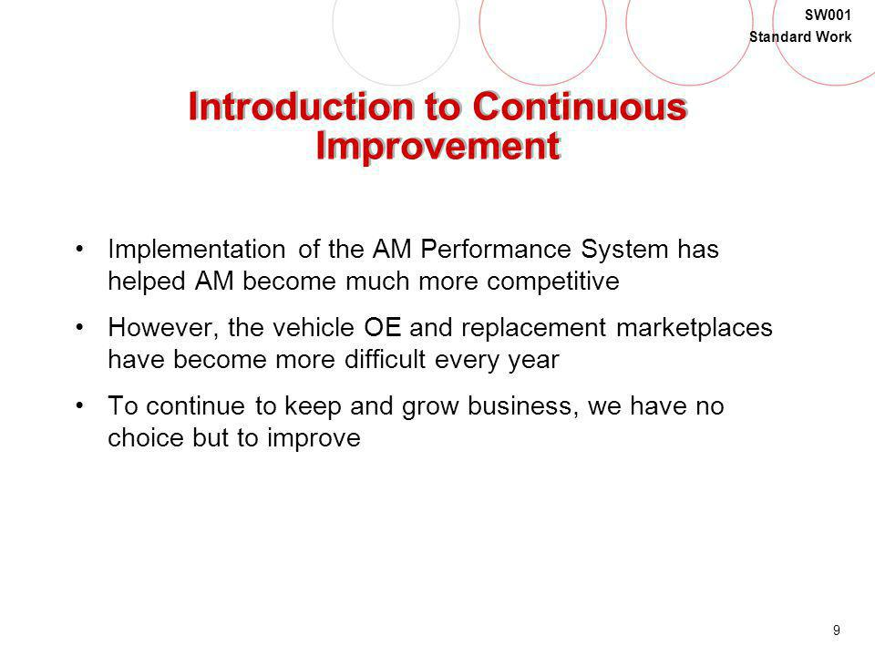 9 SW001 Standard Work Introduction to Continuous Improvement Implementation of the AM Performance System has helped AM become much more competitive Ho