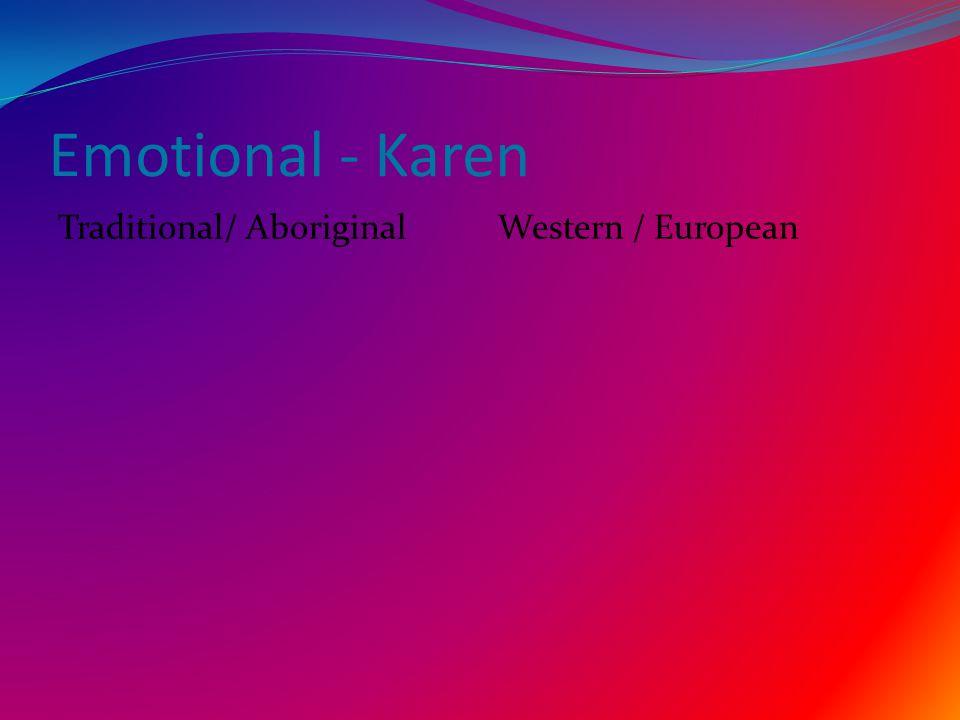 Emotional - Karen Traditional/ AboriginalWestern / European