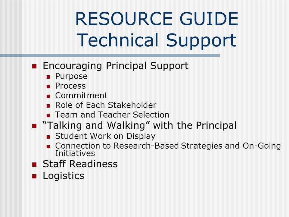 RESOURCE GUIDE Technical Support Encouraging Principal Support Purpose Process Commitment Role of Each Stakeholder Team and Teacher Selection Talking