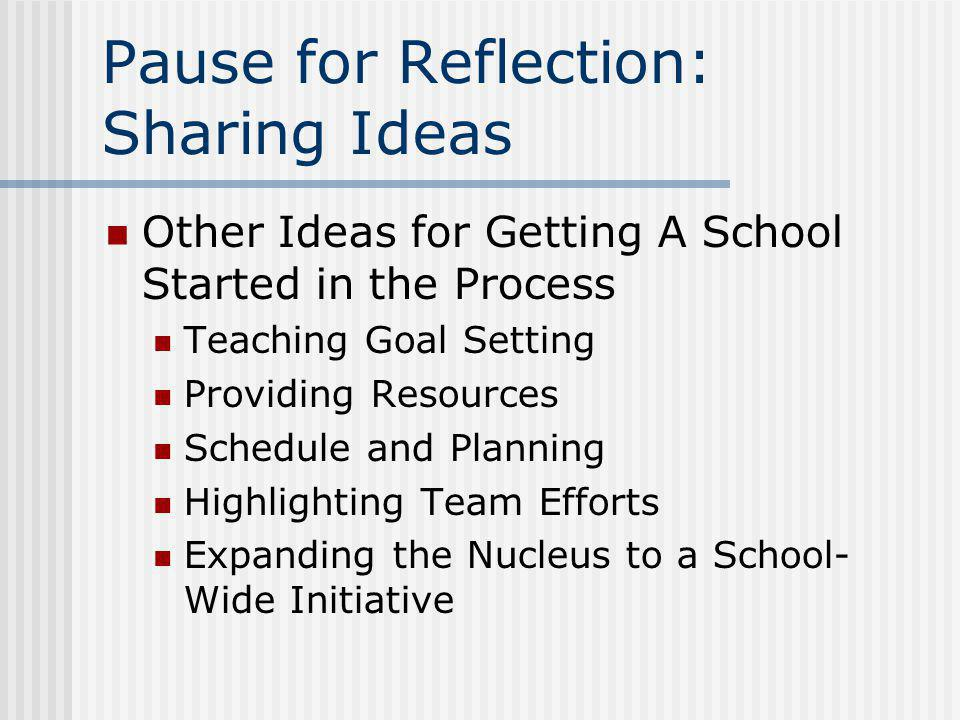 Pause for Reflection: Sharing Ideas Other Ideas for Getting A School Started in the Process Teaching Goal Setting Providing Resources Schedule and Pla