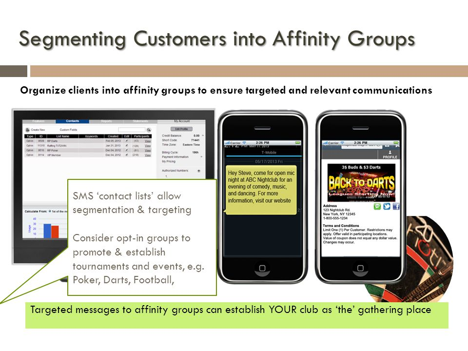Segmenting Customers into Affinity Groups Organize clients into affinity groups to ensure targeted and relevant communications Targeted messages to affinity groups can establish YOUR club as the gathering place SMS contact lists allow segmentation & targeting Consider opt-in groups to promote & establish tournaments and events, e.g.
