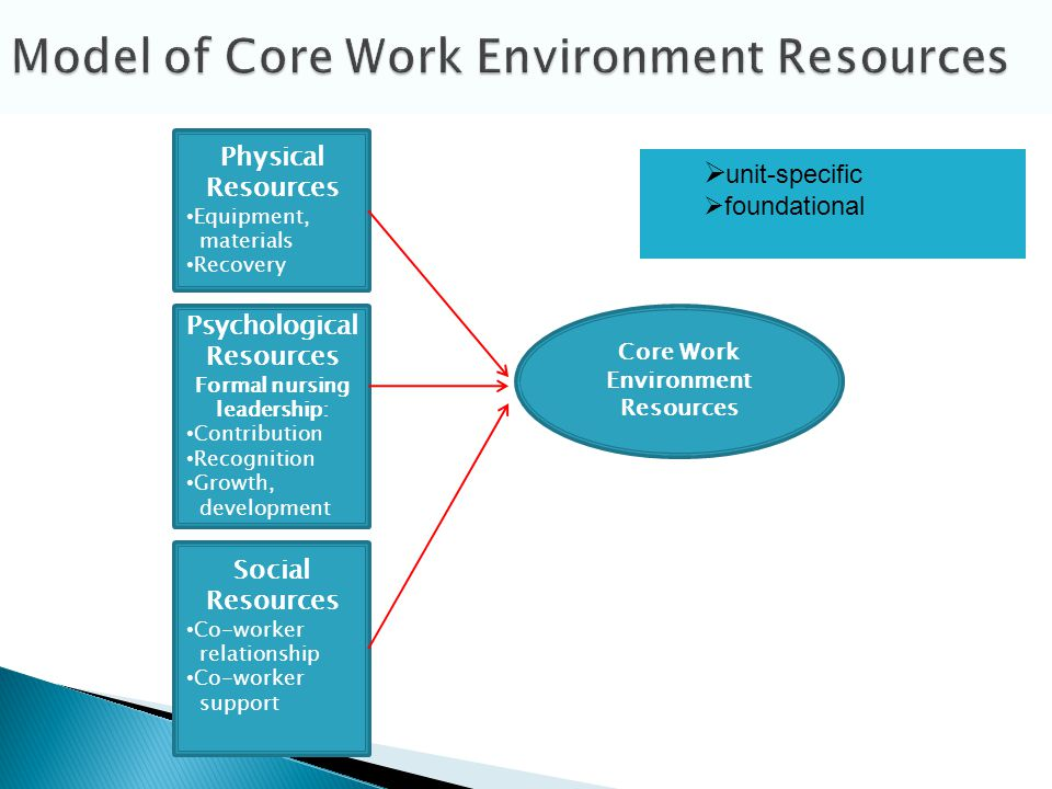 Physical Resources Equipment, materials Recovery Social Resources Co-worker relationship Co-worker support Core Work Environment Resources Psychological Resources Formal nursing leadership: Contribution Recognition Growth, development unit-specific foundational