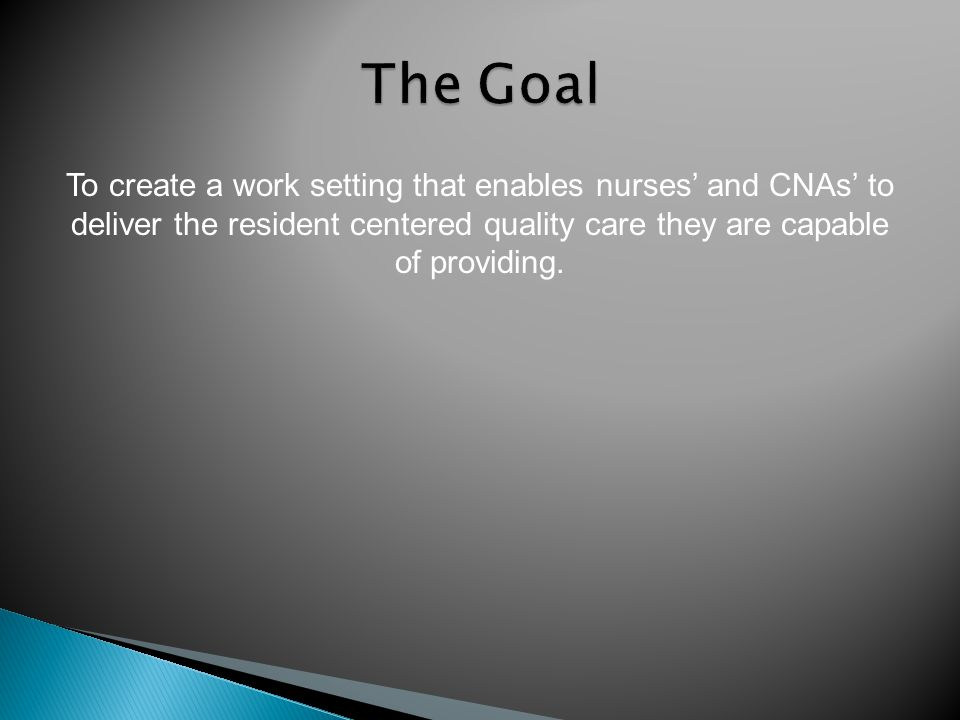 To create a work setting that enables nurses and CNAs to deliver the resident centered quality care they are capable of providing.