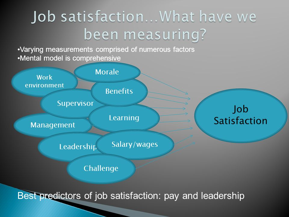 Varying measurements comprised of numerous factors Mental model is comprehensive, training,,, Work environment Management Leadership Supervisor Learning Salary/wages Challenge Benefits Best predictors of job satisfaction: pay and leadership Job Satisfaction Morale
