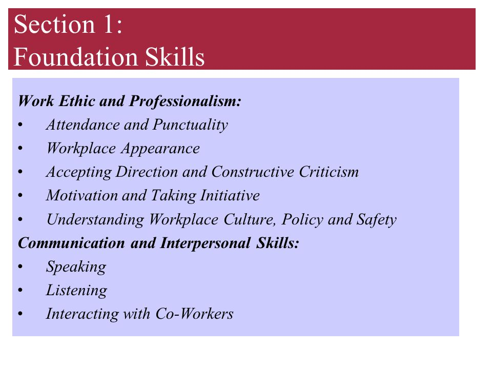 Section 1: Foundation Skills Work Ethic and Professionalism: Attendance and Punctuality Workplace Appearance Accepting Direction and Constructive Criticism Motivation and Taking Initiative Understanding Workplace Culture, Policy and Safety Communication and Interpersonal Skills: Speaking Listening Interacting with Co-Workers