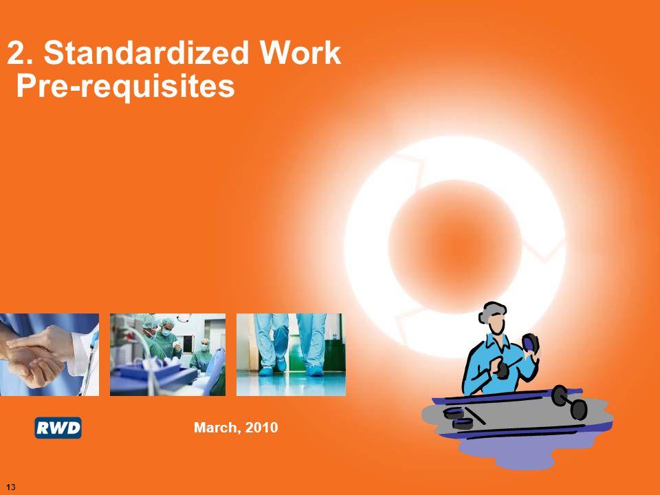 March, 2010 13 2. Standardized Work Pre-requisites