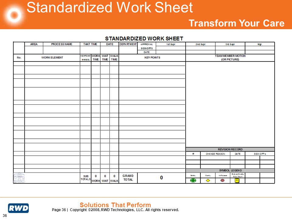 Transform Your Care 36 Solutions That Perform Page 36 | Copyright ©2008, RWD Technologies, LLC. All rights reserved. Standardized Work Sheet