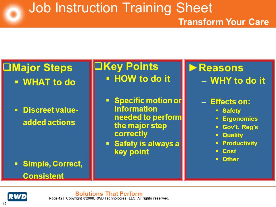 Transform Your Care 42 Solutions That Perform Page 42 | Copyright ©2008, RWD Technologies, LLC. All rights reserved. Job Instruction Training Sheet Ma