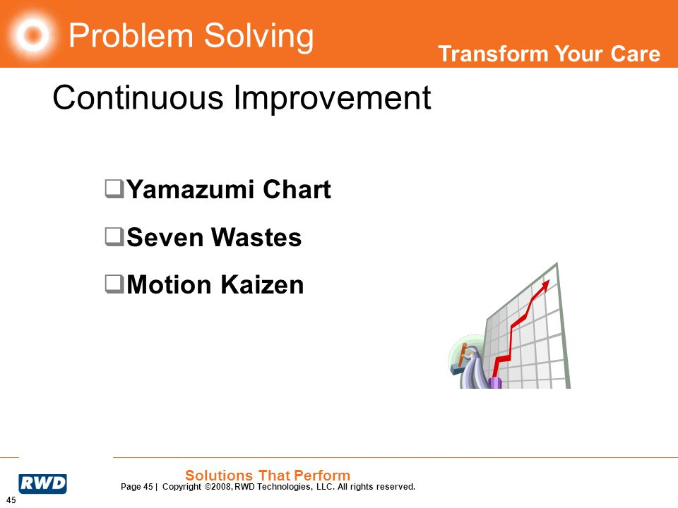 Transform Your Care 45 Solutions That Perform Page 45 | Copyright ©2008, RWD Technologies, LLC. All rights reserved. Problem Solving Yamazumi Chart Se
