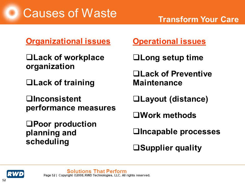 Transform Your Care 52 Solutions That Perform Page 52 | Copyright ©2008, RWD Technologies, LLC. All rights reserved. Causes of Waste Organizational is