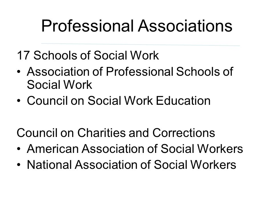 Professional Associations 17 Schools of Social Work Association of Professional Schools of Social Work Council on Social Work Education Council on Cha
