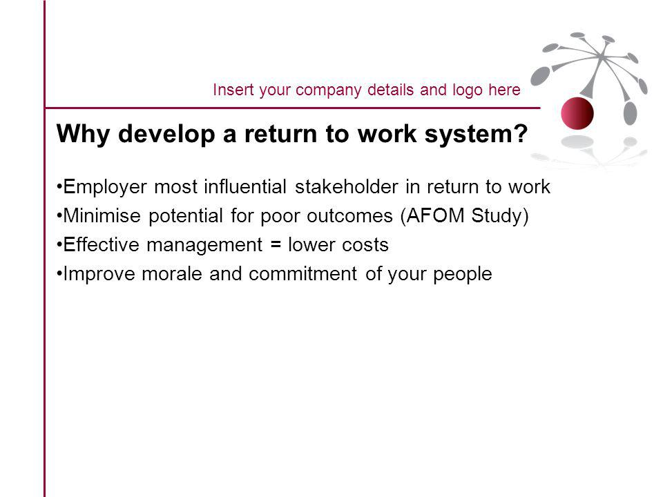 Why develop a return to work system.