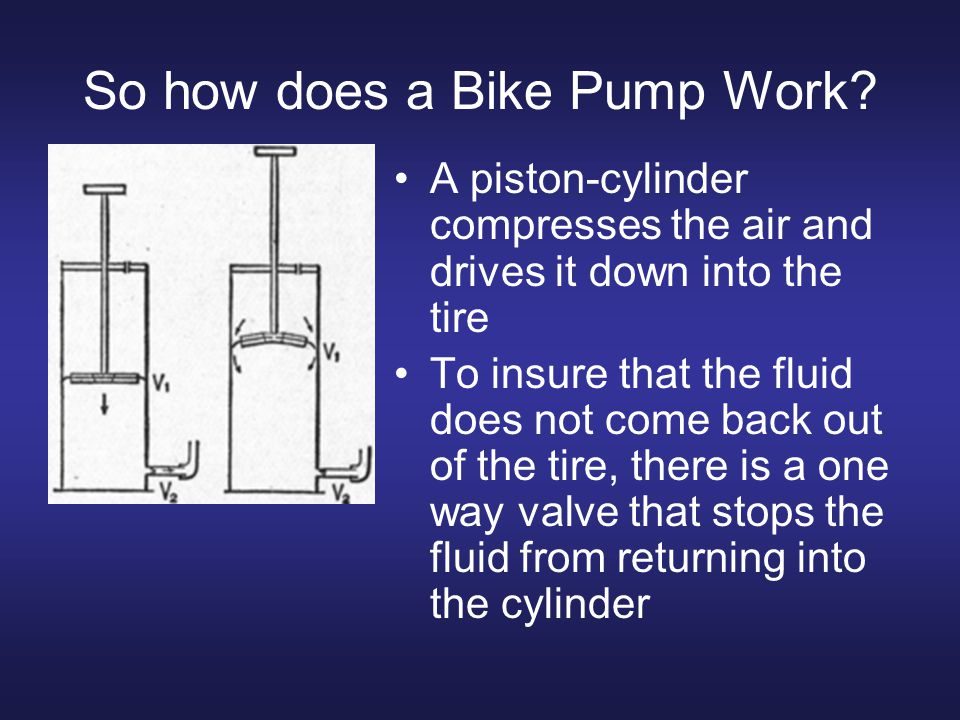 So how does a Bike Pump Work? A piston-cylinder compresses the air and drives it down into the tire To insure that the fluid does not come back out of