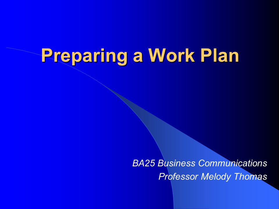Work Plan A carefully thought-out plan for ensuring you produce good work on schedule by identifying all tasks to be performed and making sure nothing gets overlooked.