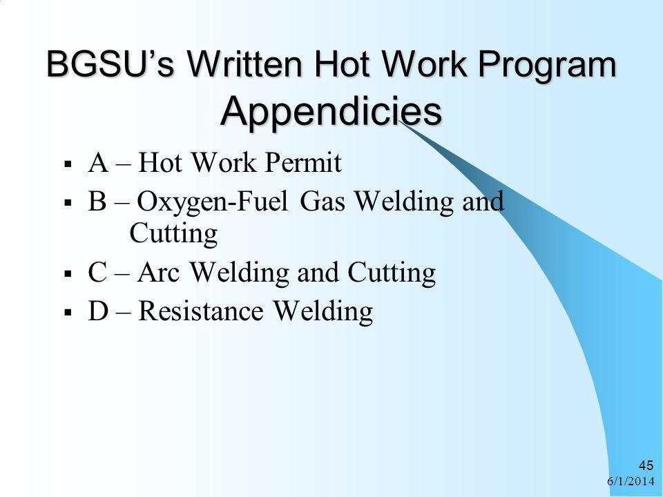 6/1/2014 45 BGSUs Written Hot Work Program Appendicies A – Hot Work Permit B – Oxygen-Fuel Gas Welding and Cutting C – Arc Welding and Cutting D – Res