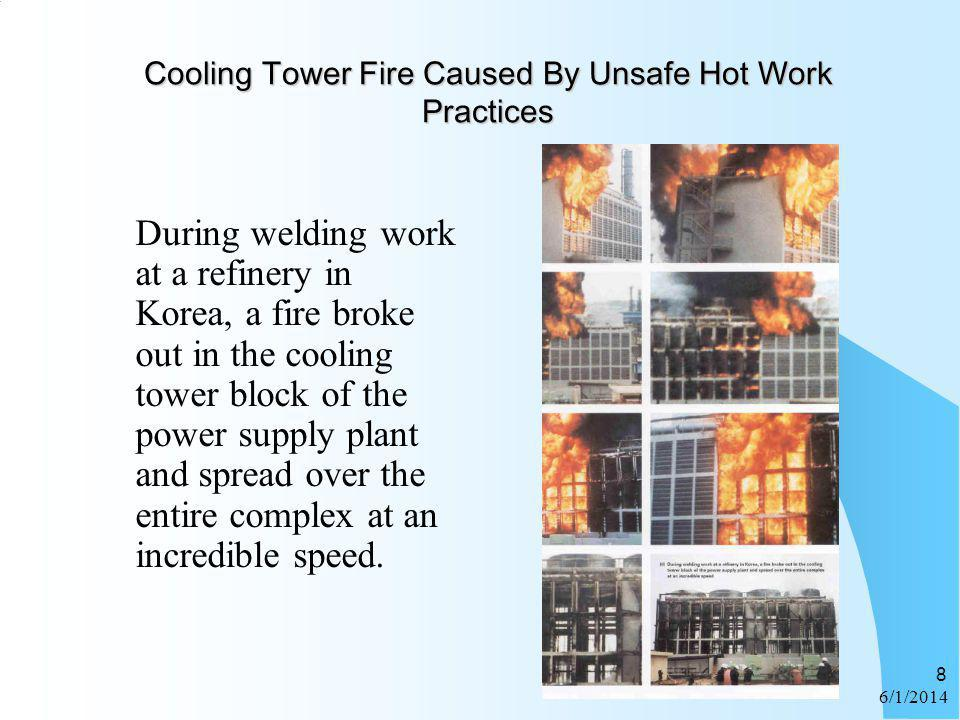 6/1/2014 8 Cooling Tower Fire Caused By Unsafe Hot Work Practices During welding work at a refinery in Korea, a fire broke out in the cooling tower bl