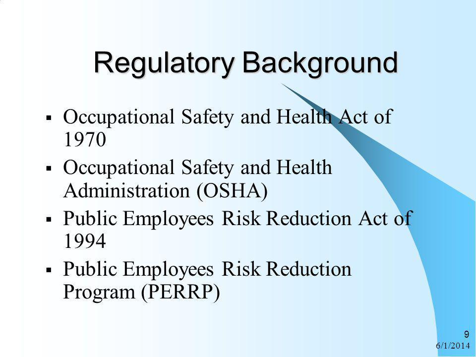 6/1/2014 9 Regulatory Background Occupational Safety and Health Act of 1970 Occupational Safety and Health Administration (OSHA) Public Employees Risk