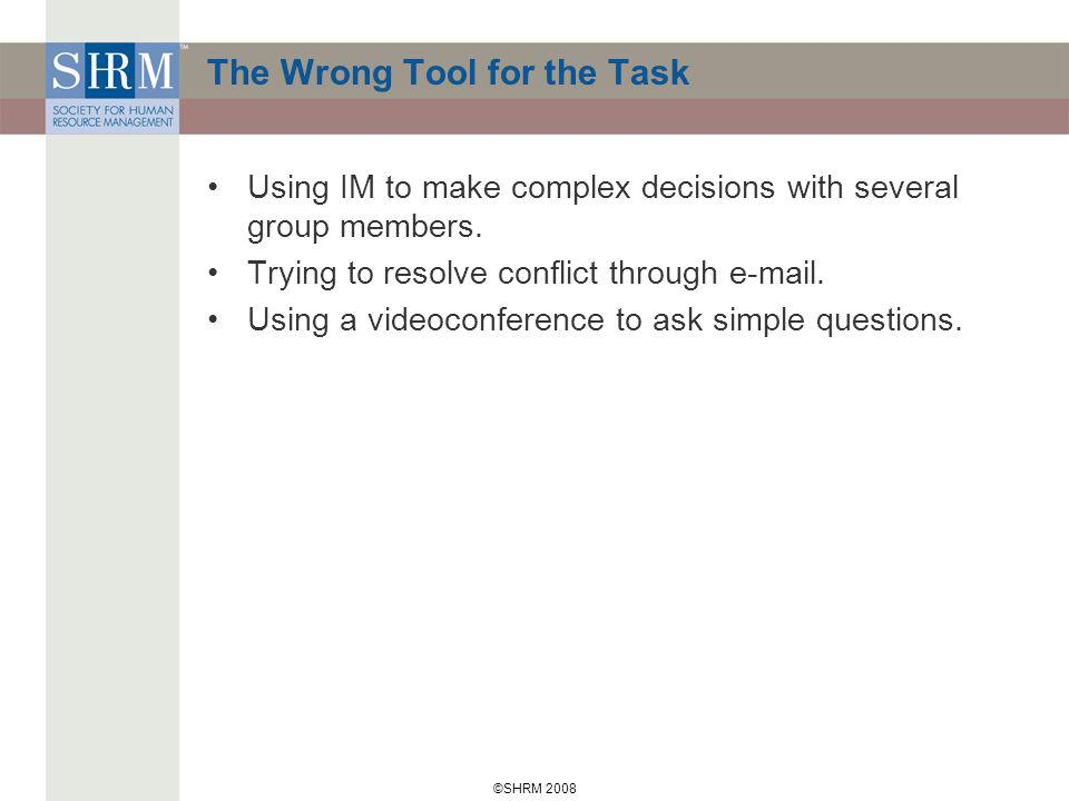 ©SHRM 2008 The Wrong Tool for the Task Using IM to make complex decisions with several group members.