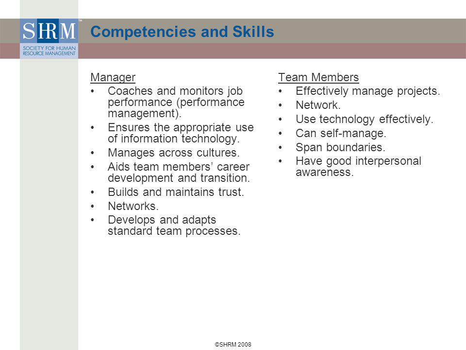 ©SHRM 2008 Competencies and Skills Manager Coaches and monitors job performance (performance management).