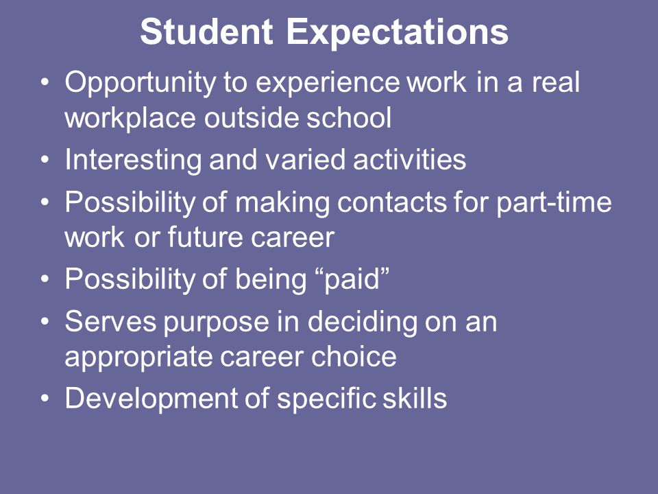 Student Expectations Opportunity to experience work in a real workplace outside school Interesting and varied activities Possibility of making contact