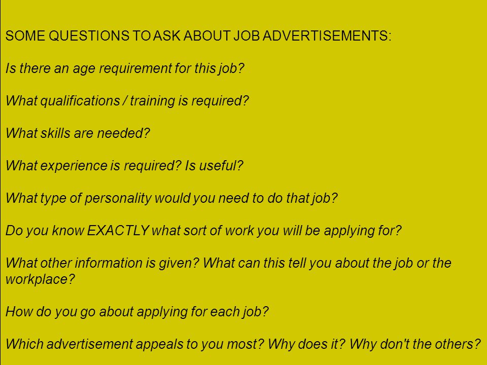 Types of activities in this module A lot of work on job advertisements. Where can you find out about vacancies? Terminology used in advertisements. Vi