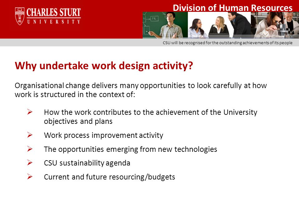Division of Human Resources CSU will be recognised for the outstanding achievements of its people Well designed work aims to strike a balance between: Functional effectiveness ie: does the work design increase productivity and enhance efficiency.
