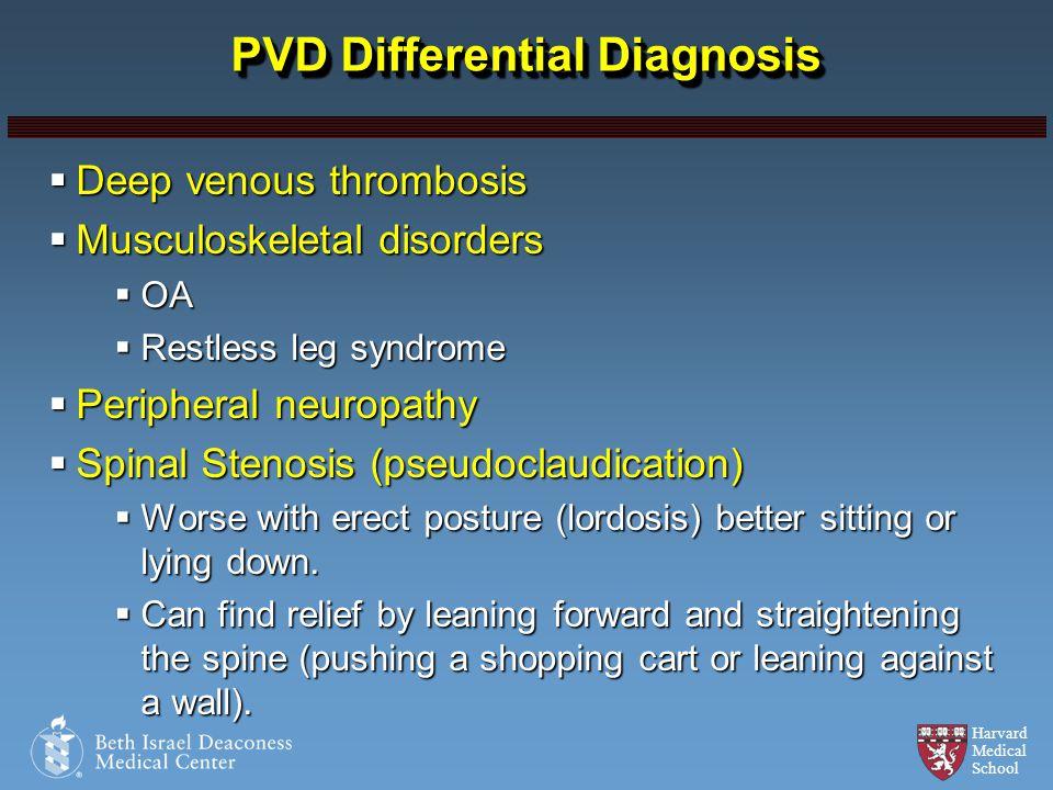 Harvard Medical School PVD Differential Diagnosis Deep venous thrombosis Deep venous thrombosis Musculoskeletal disorders Musculoskeletal disorders OA