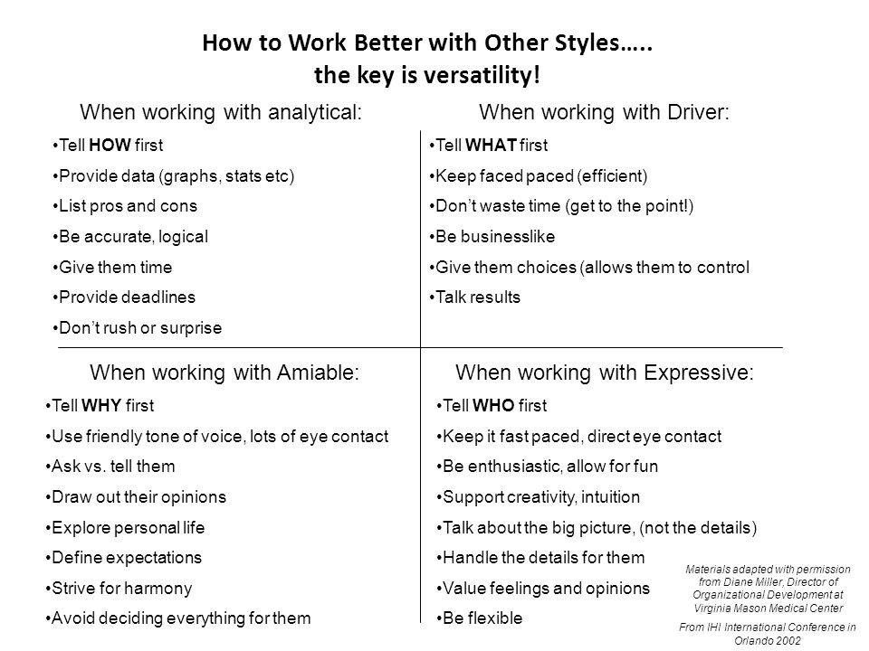 How to Work Better with Other Styles….. the key is versatility! When working with analytical: Tell HOW first Provide data (graphs, stats etc) List pro