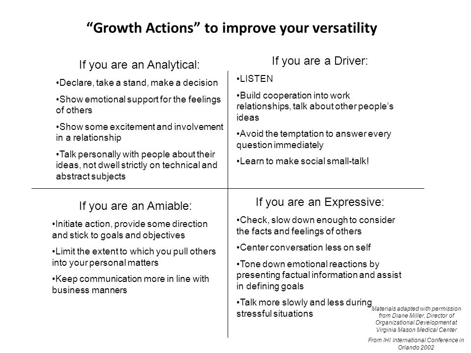 Growth Actions to improve your versatility If you are an Analytical: Declare, take a stand, make a decision Show emotional support for the feelings of