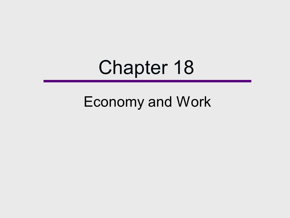 Chapter 18 Economy and Work