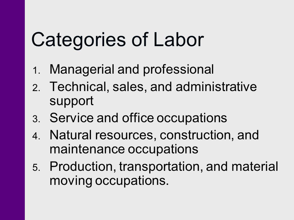 Categories of Labor 1. Managerial and professional 2. Technical, sales, and administrative support 3. Service and office occupations 4. Natural resour