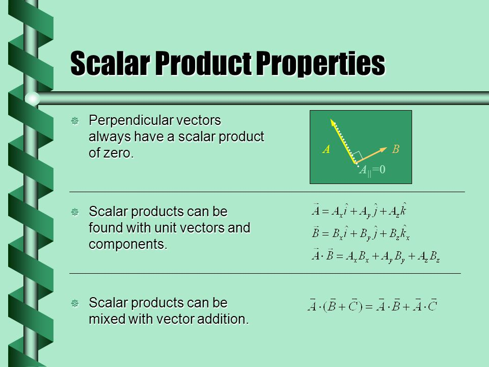 Scalar Product Properties Perpendicular vectors always have a scalar product of zero. Perpendicular vectors always have a scalar product of zero. Scal