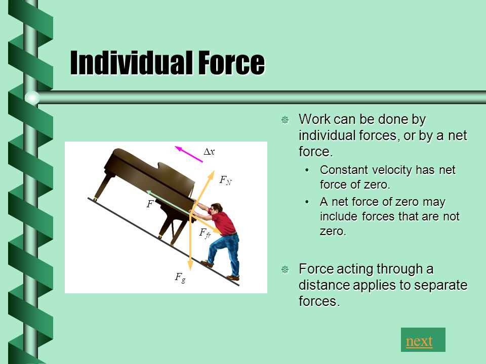 Individual Force Work can be done by individual forces, or by a net force. Constant velocity has net force of zero. A net force of zero may include fo