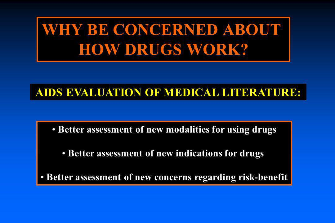 WHY BE CONCERNED ABOUT HOW DRUGS WORK? Better assessment of new modalities for using drugs Better assessment of new indications for drugs Better asses