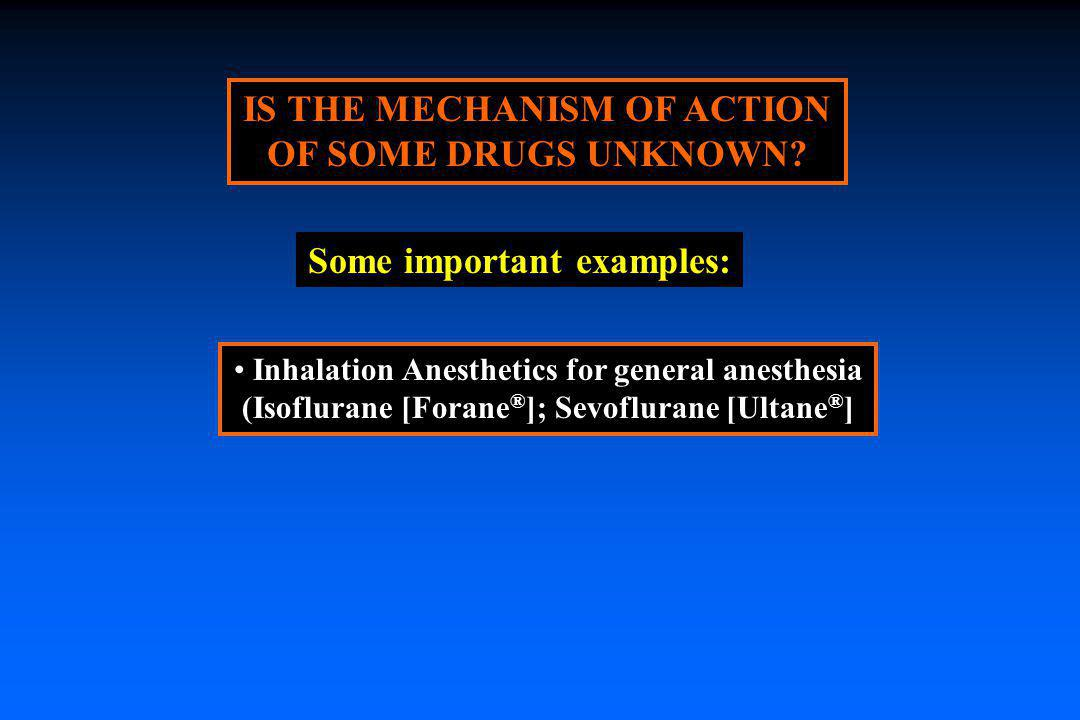 IS THE MECHANISM OF ACTION OF SOME DRUGS UNKNOWN? Inhalation Anesthetics for general anesthesia (Isoflurane [Forane ® ]; Sevoflurane [Ultane ® ] Some