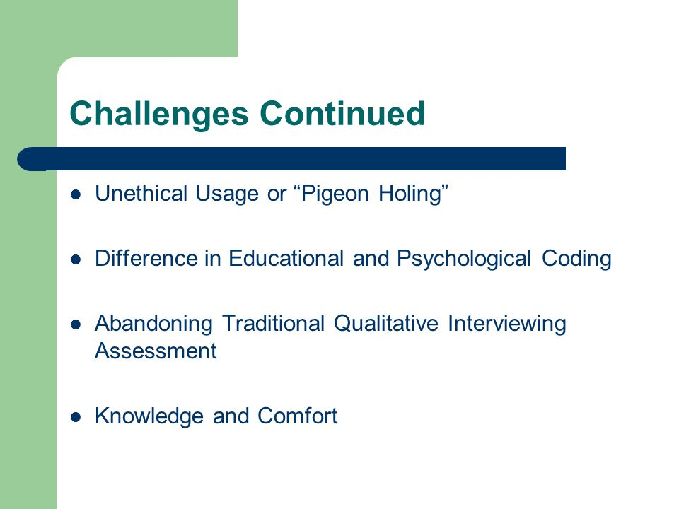 Challenges Continued Unethical Usage or Pigeon Holing Difference in Educational and Psychological Coding Abandoning Traditional Qualitative Interviewi