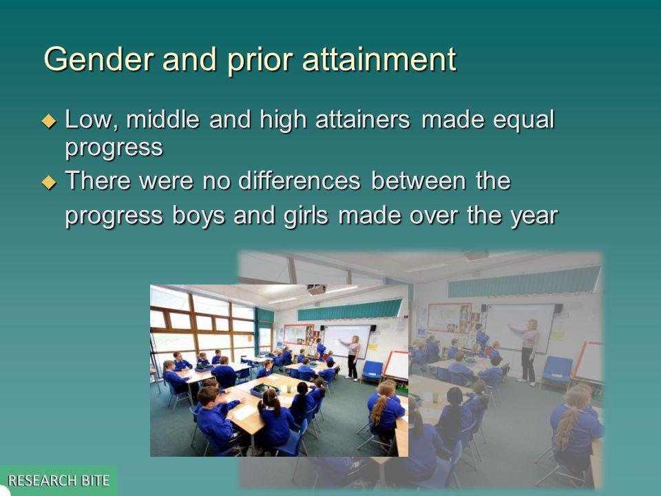 Gender and prior attainment Low, middle and high attainers made equal progress Low, middle and high attainers made equal progress There were no differences between the progress boys and girls made over the year There were no differences between the progress boys and girls made over the year