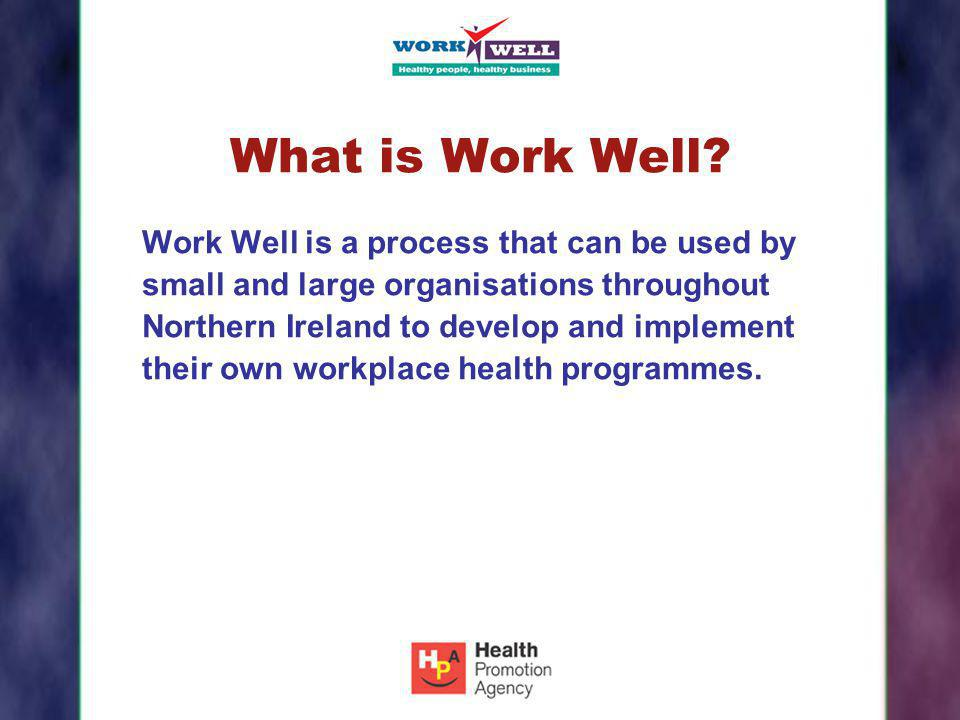 What is Work Well? Work Well is a process that can be used by small and large organisations throughout Northern Ireland to develop and implement their