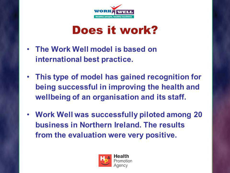 Does it work? The Work Well model is based on international best practice. This type of model has gained recognition for being successful in improving