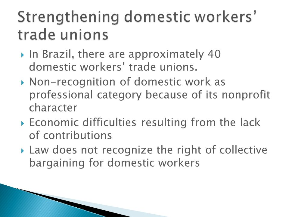 In Brazil, there are approximately 40 domestic workers trade unions. Non-recognition of domestic work as professional category because of its nonprofi