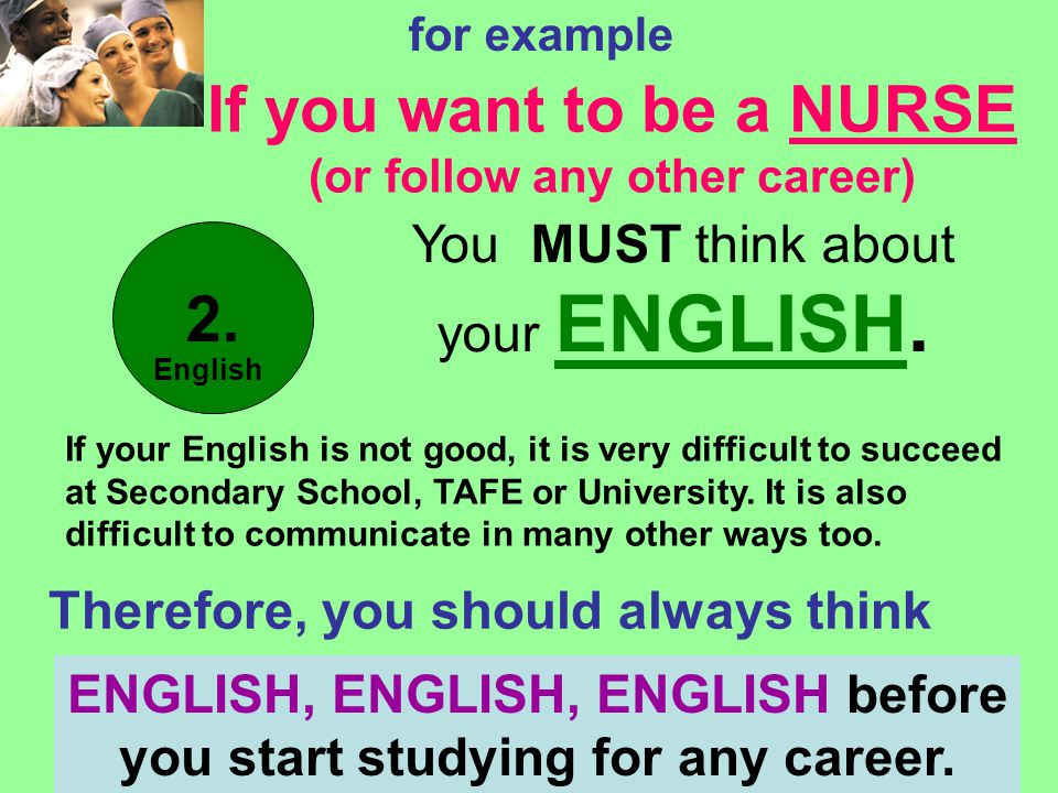 Win Madigan - Western English Language School - 2007 for example If you want to be a NURSE (or follow any other career) You MUST think about your ENGLISH.