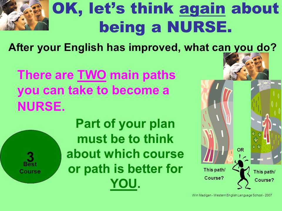 Win Madigan - Western English Language School - 2007 OK, lets think again about being a NURSE.