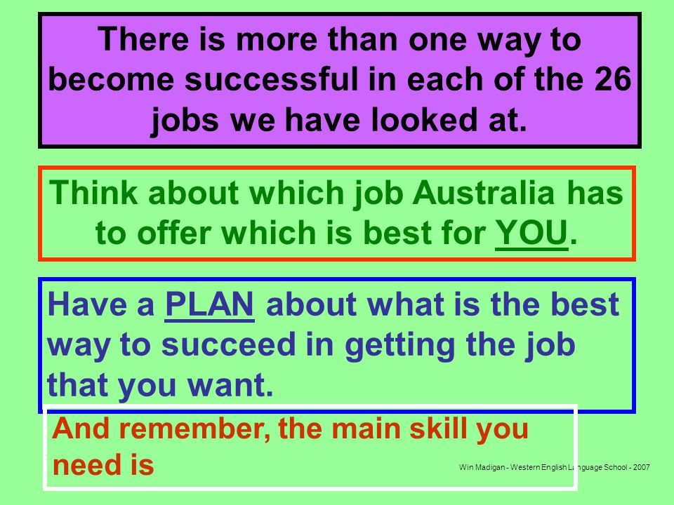 Win Madigan - Western English Language School - 2007 There is more than one way to become successful in each of the 26 jobs we have looked at.