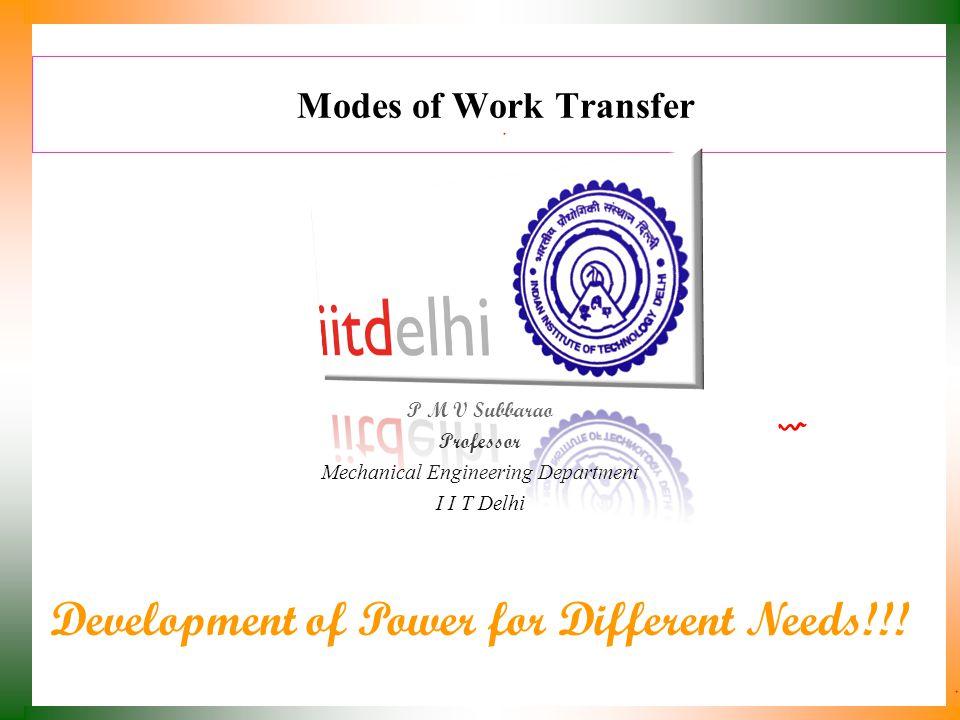 Modes of Work Transfer P M V Subbarao Professor Mechanical Engineering Department I I T Delhi Development of Power for Different Needs!!!