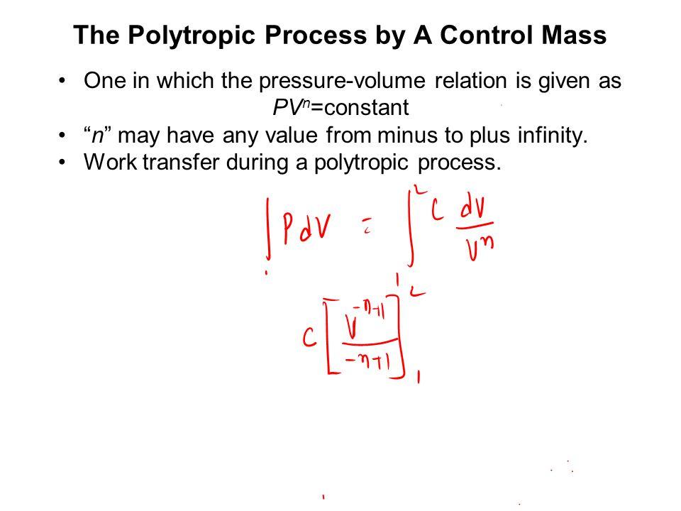 Generalized Process in A Control Mass p = p 0 + k (V-V 0 ) p 2 = p 0 2 + k (V-V 0 ) 2 Polytropic Nature of Fluid Process: pV n = Constant –n: Polytropic constant.