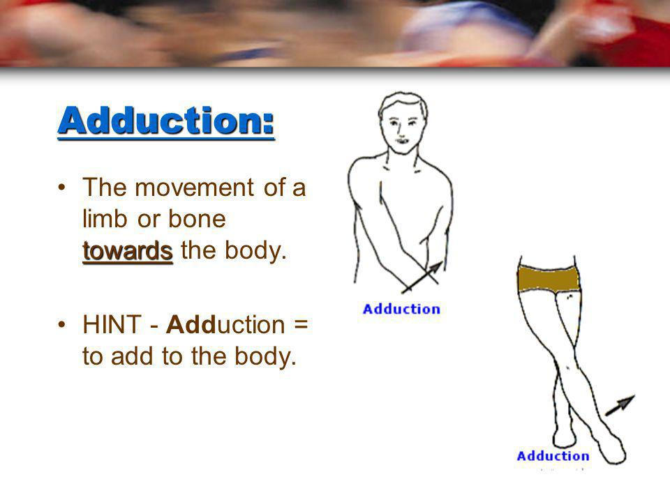 Abduction: awayThe movement of a limb or bone away from the body. HINT – Abduction = to take away.