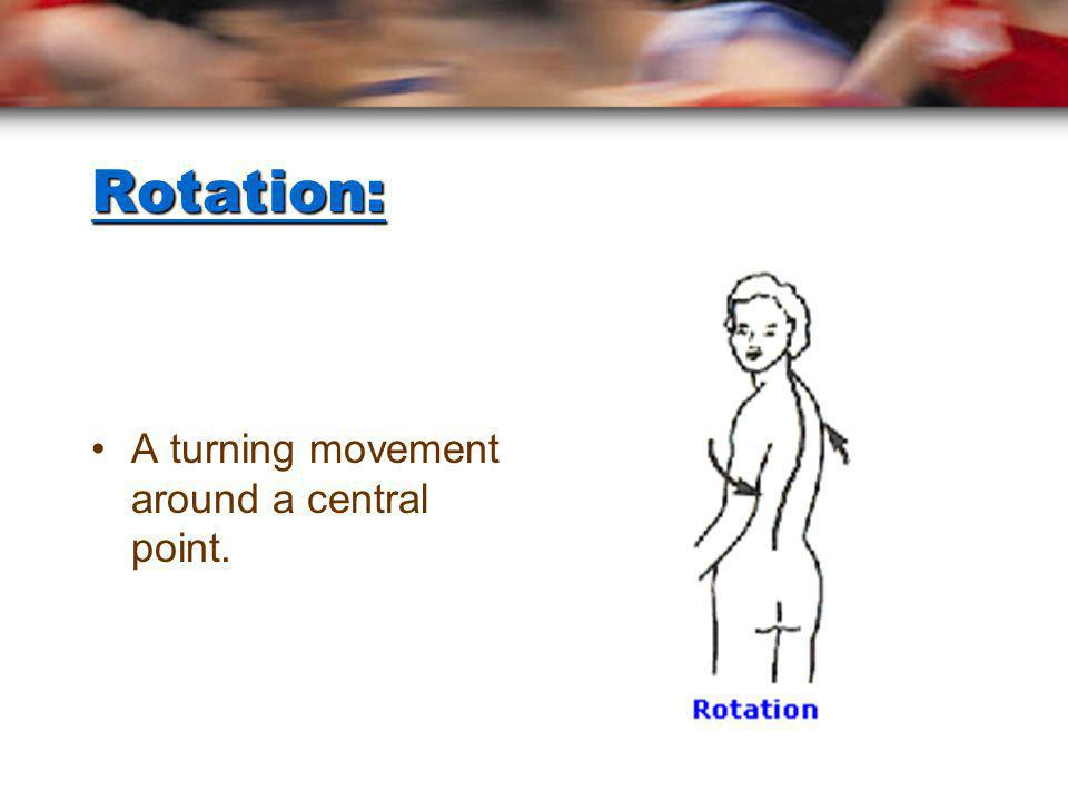 Adduction: towardsThe movement of a limb or bone towards the body. HINT - Adduction = to add to the body.