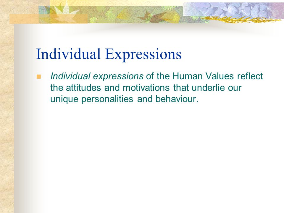 Individual Expressions Individual expressions of the Human Values reflect the attitudes and motivations that underlie our unique personalities and beh