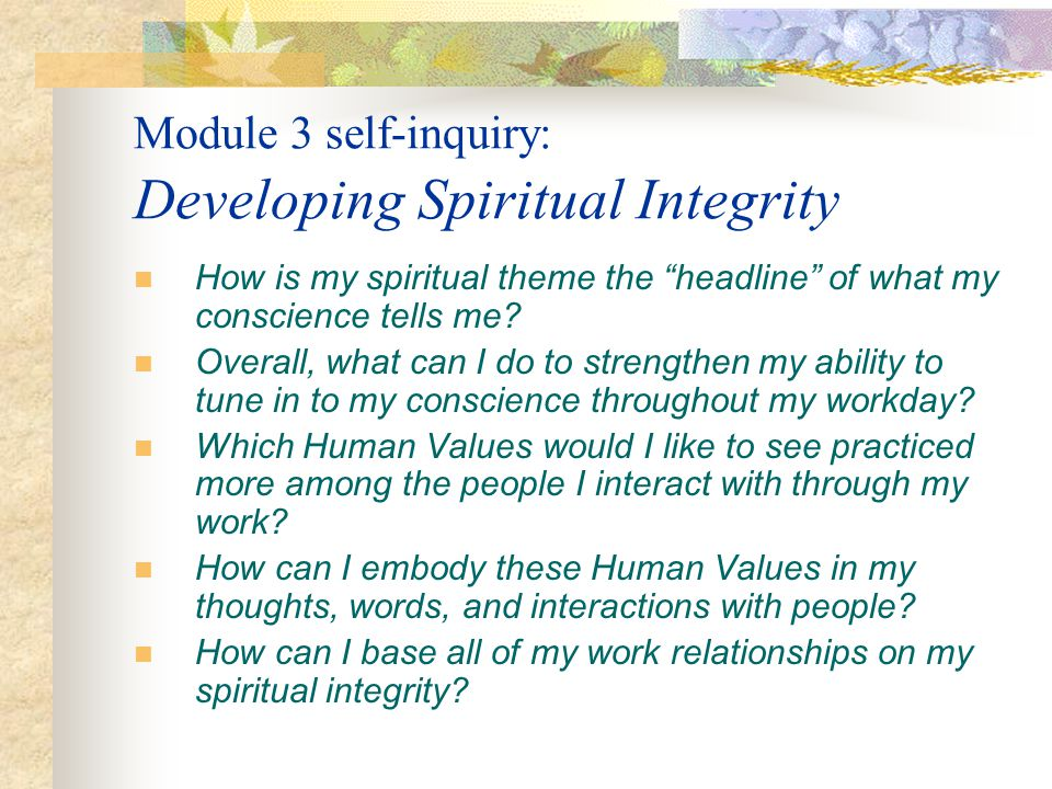 Module 3 self-inquiry: Developing Spiritual Integrity How is my spiritual theme the headline of what my conscience tells me? Overall, what can I do to